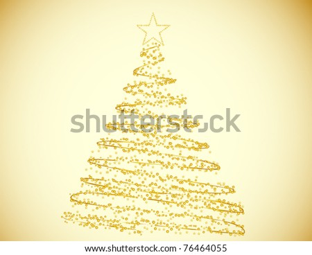 Golden Christmas Tree Made of Circles and Stars on a Gold Background