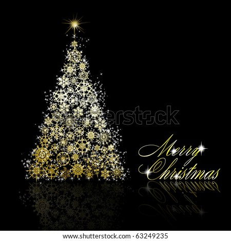 Golden Christmas tree made of gold snowflakes and stars on black background. Vector eps10 illustration - stock vector
