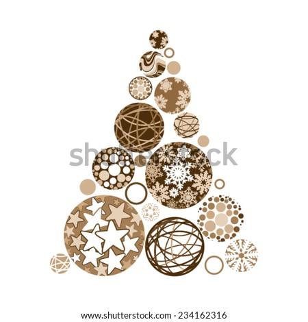 Golden Christmas tree made of various balls - stock vector