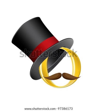 golden circle in cylinder hat with mustache - stock vector