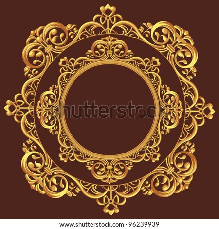 Golden Circle Ornament - stock vector