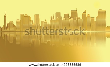 Golden city and skyscrapers in New York - stock vector