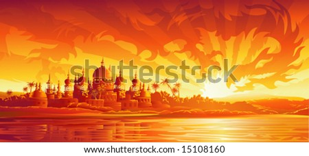 Golden city under golden sky (dragon version, other landscapes are in my gallery)