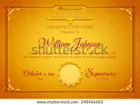 Golden classic certificate with a marble texture, vintage decorative elements and frame with space for stamp seal and congratulatory text - stock vector