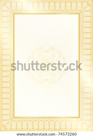 Golden Classic guilloche border for diploma or certificate with protective  ornament / vector/ A4 vertical / CMYK color / Layers are separated! Editing is easy - stock vector