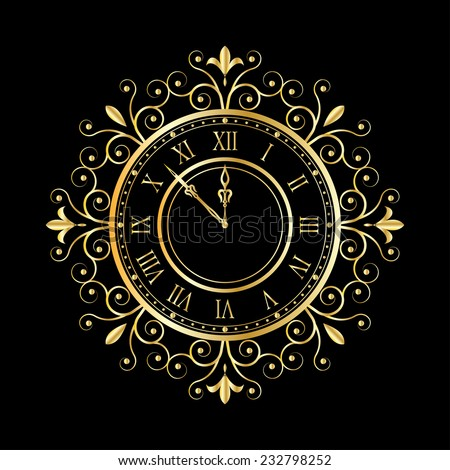 golden clock vitage style for new year and christmas design. vector illustrations - stock vector