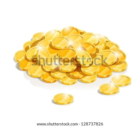 golden coin heap vector illustration isolated on white background EPS10. Transparent objects and opacity masks used for shadows and lights drawing. Vector Illustration. - stock vector