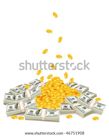 golden coins dropping down on pile of dollar packs - vector illustration, isolated on white background - stock vector