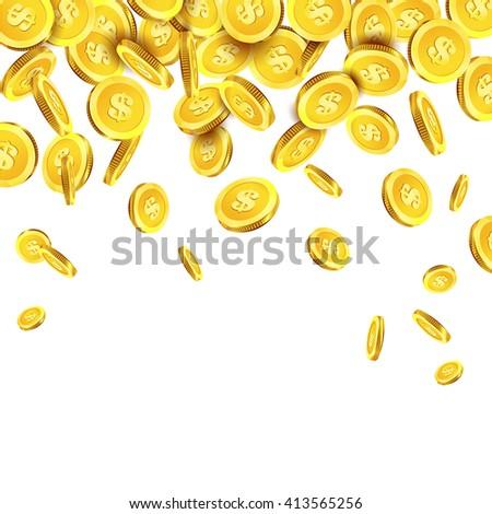 Golden coins money. Coins are falling down. Money rain. Vector illustration of golden falling coins. - stock vector