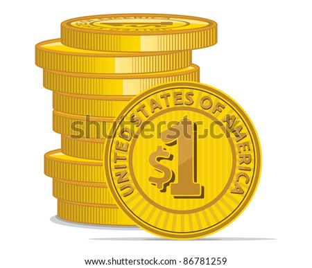 Golden coins with dollar sign