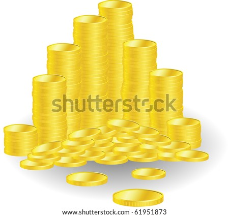 Golden coins with money symbol on white background, vector illustration