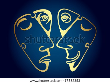 Golden comedy and tragedy masks. Vector - stock vector