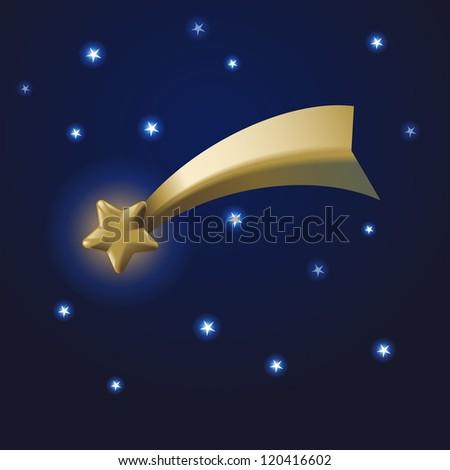 Golden comet with stars, eps10 vector - stock vector
