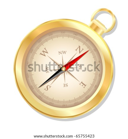 Golden compass. - stock vector