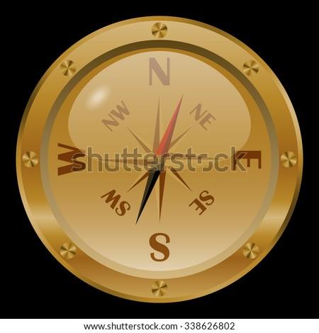 Golden compass on black background.  - stock vector