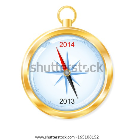 Golden compass points to New Year 2014. Vector illustration.