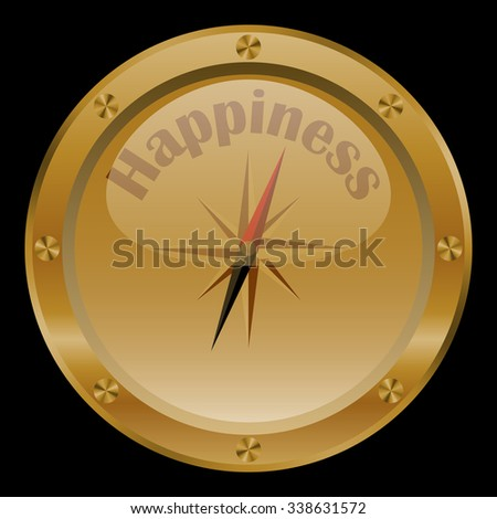 Golden conceptual compass on black background.  - stock vector