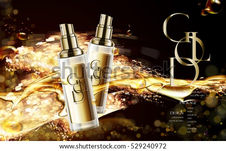 golden cosmetic package with logo, contained in spray bottle isolated on glitter background in 3d illustration