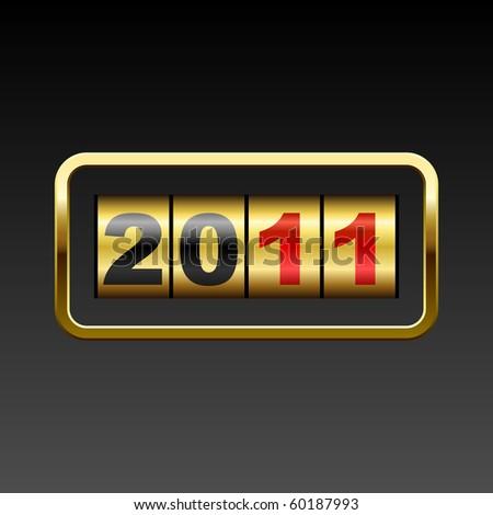 Golden counter 2011 year card. - stock vector