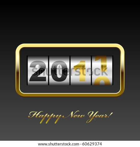Golden counter 2011 year card. - stock vector