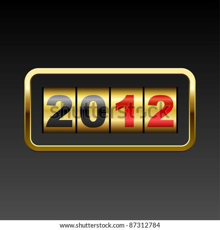 Golden counter 2012 year card. - stock vector