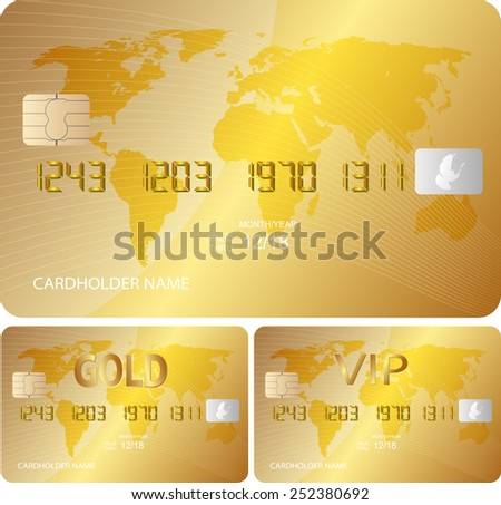 golden credit card - stock vector