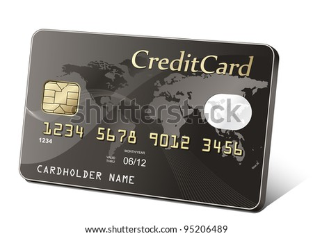 Golden credit card. Payment concept. - stock vector