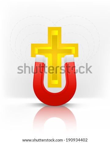 golden cross attracted with magnet magnetic field vector illustration - stock vector