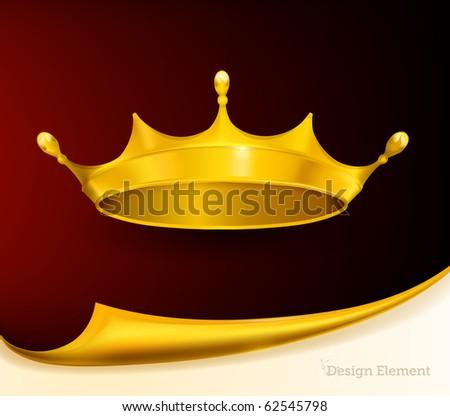 Golden Crown, eps10 - stock vector