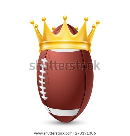 Golden crown on the ball rugby isolated on white - stock vector