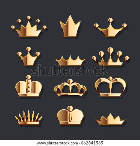 Golden Crown Set Vector Gold Jewelry Stock Photo Photo Vector