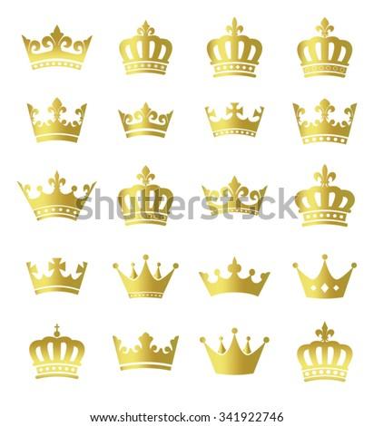 Golden crowns - set of vector gold crown symbols - stock vector