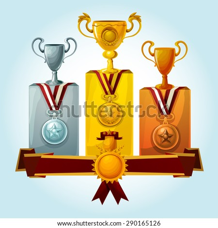 Golden cups and medal trophies on winners podium cartoon vector illustration - stock vector
