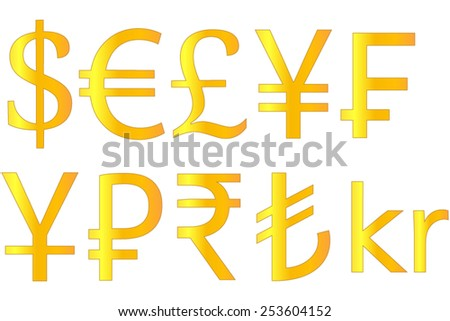 Golden Currencies Symbols Dollar Euro Pound Yen Swiss Franc Yuan Ruble Rupee Turkish Lira Krone - stock vector