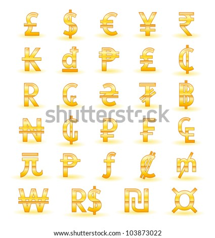 Golden currency symbols of the world - stock vector