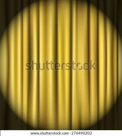 golden curtain theater background - stock vector