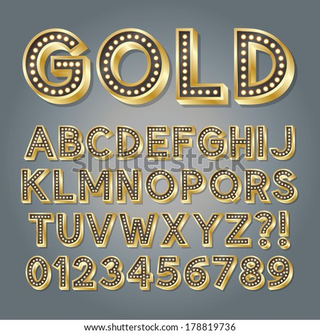 Golden 3D Broadway Alphabet and Numbers, Eps 10 Vector Editable - stock vector