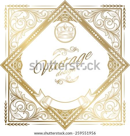 Golden decorative vintage design - stock vector