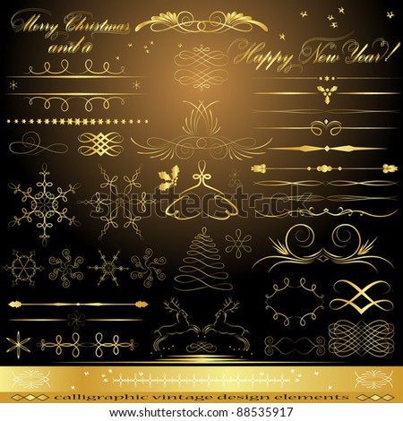 Golden design elements. Vector illustration - stock vector