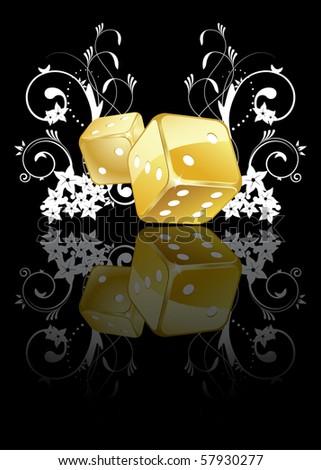 Golden dices - stock vector