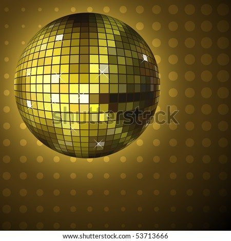 Golden disco ball background with halftone pattern. EPS10 file. - stock vector