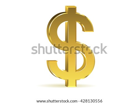 Golden dollar sign isolated on white background,