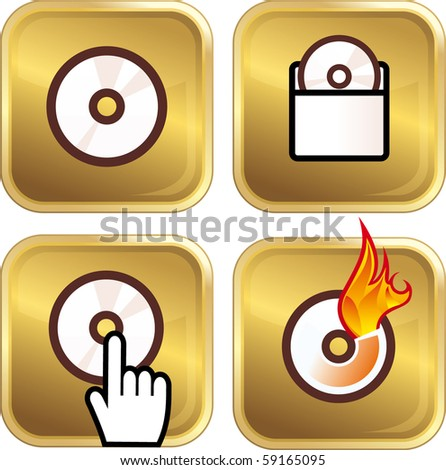 Golden DVD icons - stock vector