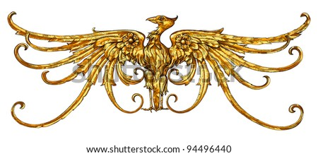 Golden Eagle - emblem - a heraldic sign. The architectural element on the ledge of the historical buildings in Prague. Vector drawing - stock vector