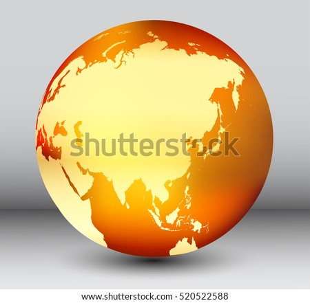golden earth globe with map of asiavector globe icon