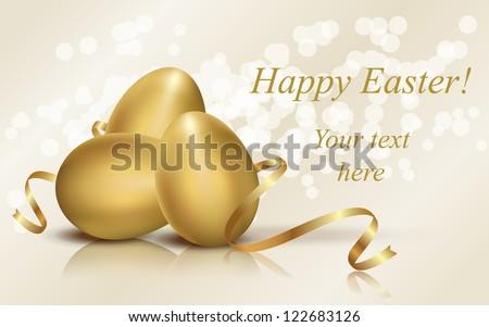 Golden Easter eggs vector illustration - stock vector