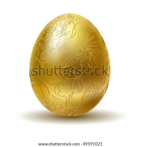 Golden egg on white background. - stock vector