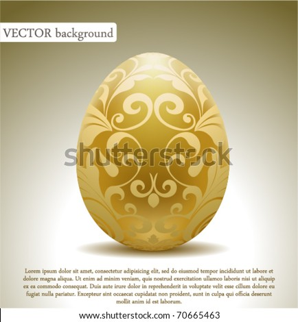 Golden egg with floral decoration. - stock vector