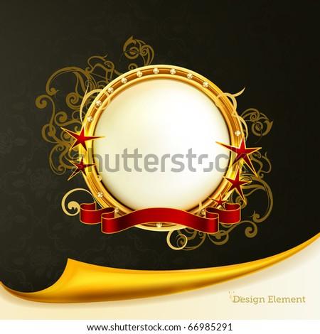 Golden Emblem, eps10 - stock vector