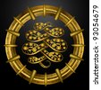 golden emblem with anaconda snake in it - vector illustration - stock vector